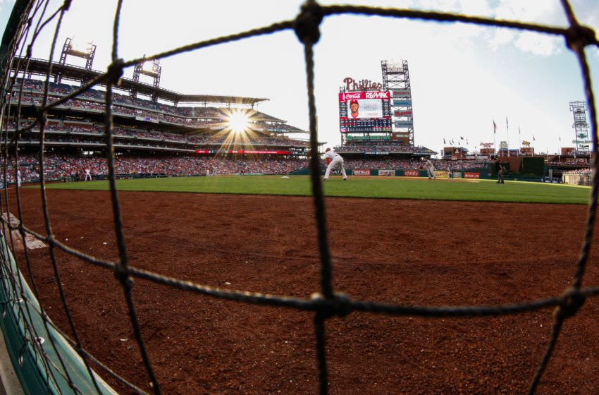 PHILADELPHIA, PA - JUNE 19: (Editors Note: This image was taken with a fisheye lens) A general view of Citizens Bank Park while Domonic Brown #9 of the Philadelphia Phillies bats in the first inning of the game against the Washington Nationals at Citizens Bank Park on June 19, 2013 in Philadelphia, Pennsylvania. (Photo by Brian Garfinkel/Getty Images)