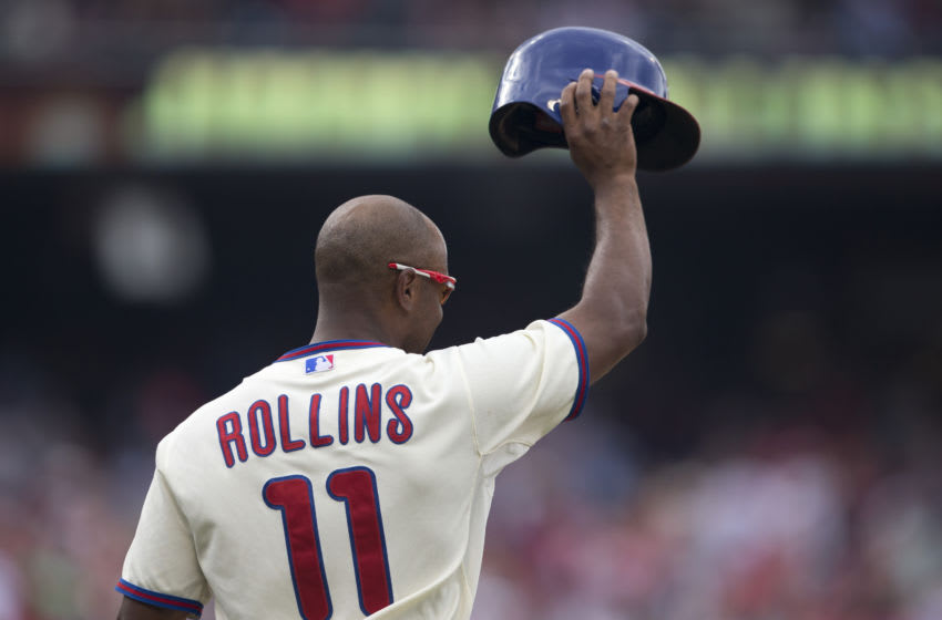 Shortstop Jimmy Rollins #11 of the Philadelphia Phillies (Photo by Mitchell Leff/Getty Images)