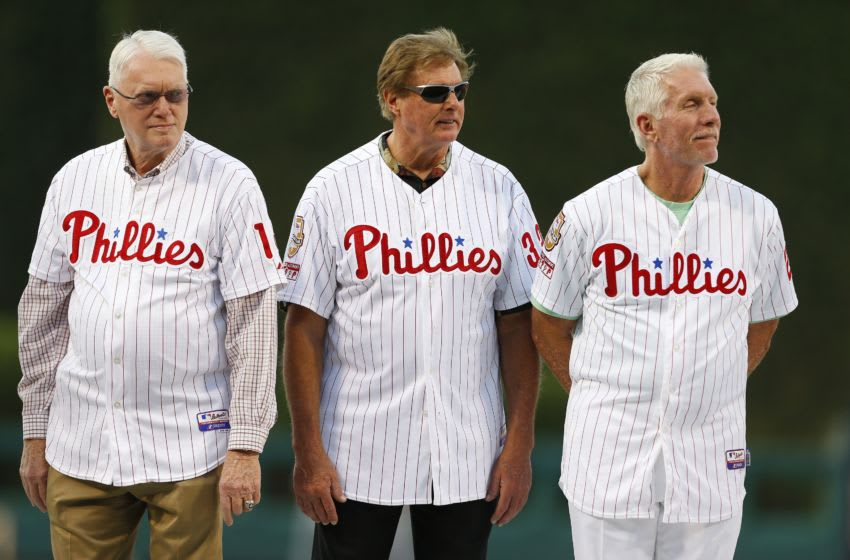 PHILADELPHIA, PA - AUGUST 09: Former Philadelphia Phillies greats, Jim Bunning, Steve Carlton and Mike Schmidt were among many on hand to honor former manager Charlie Manuel who was to be inducted to the Phillies Wall of Fame during a ceremony before the start of a game against the New York Mets at Citizens Bank Park on August 9, 2014 in Philadelphia, Pennsylvania. (Photo by Rich Schultz/Getty Images)