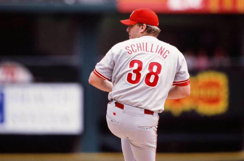 PHILADELPHIA, PA - MAY 12: Curt Schilling of the Philadelphia Phillies pitches against the St. Louis Cardinals on May 12, 1999 at Citizens Bank Park in Philadelphia, Pennsylvania. (Photo by Sporting News via Getty Images via Getty Images)