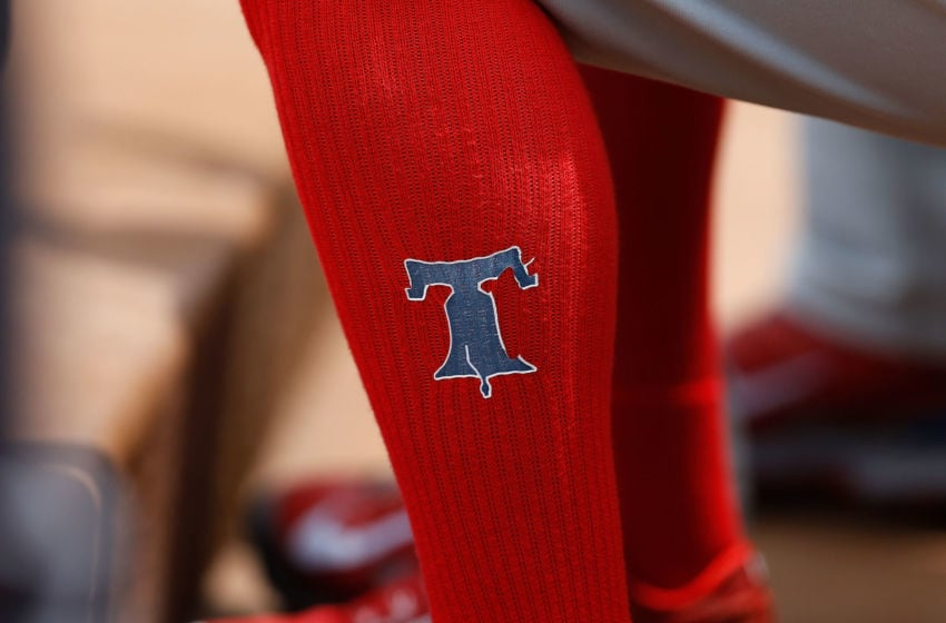 General view of the Philadelphia Phillies logo (Photo by Mike Zarrilli/Getty Images)
