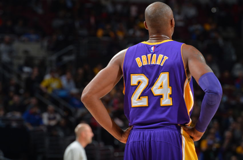 PHILADELPHIA,PA - DECEMBER 1: Kobe Bryant #24 of the Los Angeles Lakers looks on against the Philadelphia 76ers at Wells Fargo Center on December 1, 2015 in Philadelphia, Pennsylvania NOTE TO USER: User expressly acknowledges and agrees that, by downloading and/or using this Photograph, user is consenting to the terms and conditions of the Getty Images License Agreement. Mandatory Copyright Notice: Copyright 2015 NBAE (Photo by Jesse D. Garrabrant/NBAE via Getty Images)