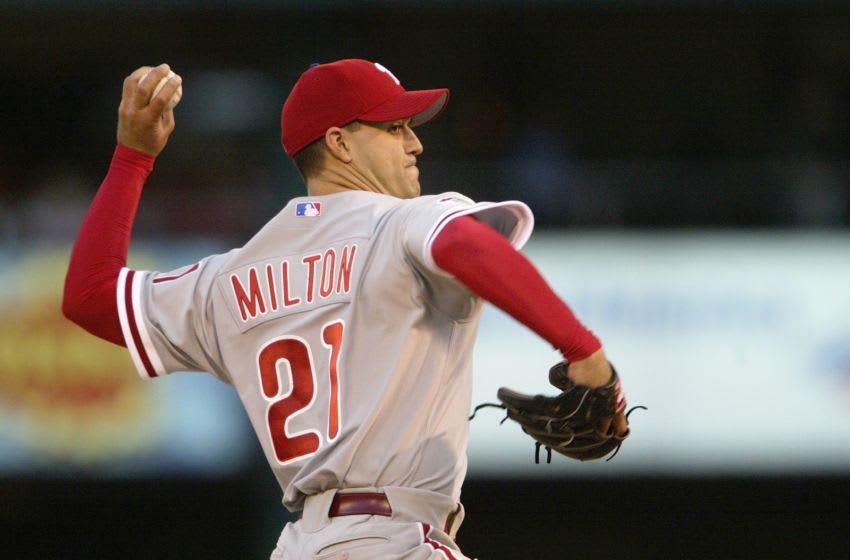 ST. LOUIS - APRIL 27: Pitcher Eric Milton #21 of the Philadelphia Phillies delivers against the St. Louis Cardinals during the game at Busch Stadium on April 27, 2004 in St. Louis, Missouri. The Phillies won 7-3. (Photo by Elsa/Getty Images)