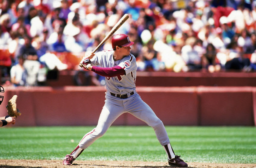 SAN FRANCISCO - 1990: Dale Murphy #3 of the Philadelphia Phillies steps into the swing during a 1990 season game against the San Francisco Giants at Candlestick Park in San Francisco, California. (Photo by Otto Greule Jr/Getty Images)