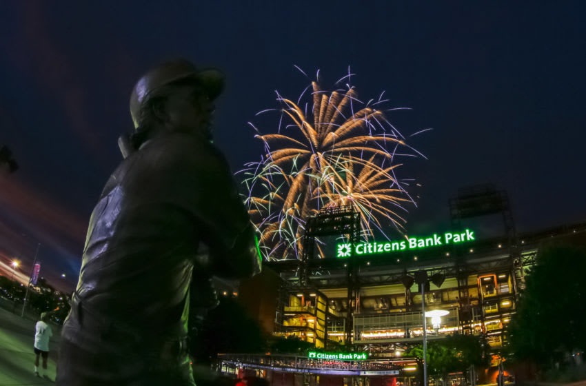 PHILADELPHIA, PA - JULY 2: An exterior view of the front of Citizens Bank Park with a statue of Mike Schmidt during a fireworks display after a game between the Philadelphia Phillies and the Kansas City Royals at Citizens Bank Park on July 2, 2016 in Philadelphia, Pennsylvania. The Royals won 6-2. (Photo by Hunter Martin/Getty Images)