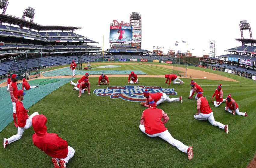 Philadelphia Phillies stretch (Photo by Rich Schultz/Getty Images)