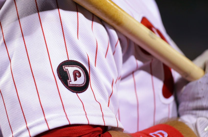 PHILADELPHIA, PA - JUNE 14: A patch honoring ex-Philadelphia Phillies manager Dallas Green is seen on a uniform jersey during a game between the Philadelphia Phillies and the Boston Red Sox at Citizens Bank Park on June 14, 2017 in Philadelphia, Pennsylvania. The Red Sox won 7-3. Photo by Hunter Martin/Getty Images) *** Local Caption ***