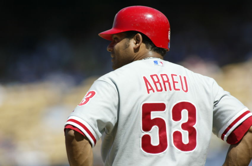 LOS ANGELES - JUNE 4: Bobby Abreu of the Philadelphia Phillies at third base during the game against the Los Angeles Dodgers at Dodger Stadium in Los Angeles, California on June 4, 2006. The Phillies defeated the Dodgers 6-4. (Photo by Robert Leiter/MLB Photos via Getty Images)