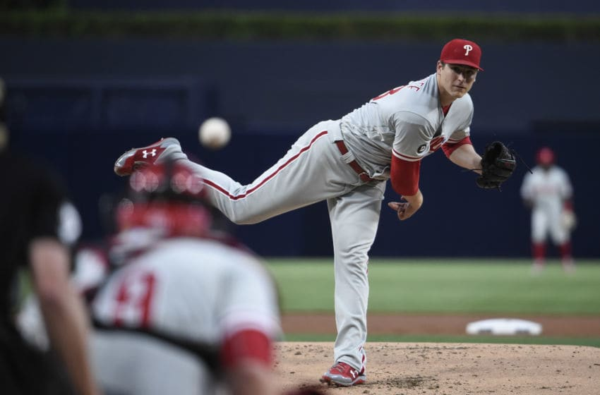 SAN DIEGO, CA - AUGUST 14: Jerad Eickhoff #48 of the Philadelphia Phillies pitches during the first inning of a baseball game against the San Diego Padres at PETCO Park on August 14, 2017 in San Diego, California. (Photo by Denis Poroy/Getty Images)
