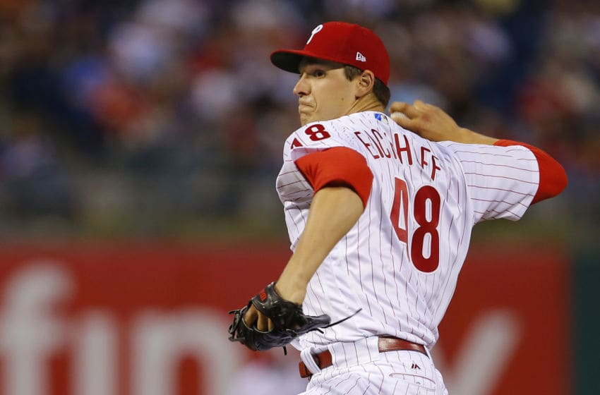 PHILADELPHIA, PA - APRIL 10: Jerad Eickhoff #48 of the Philadelphia Phillies in action against the New York Mets during a game at Citizens Bank Park on April 10, 2017 in Philadelphia, Pennsylvania. (Photo by Rich Schultz/Getty Images)
