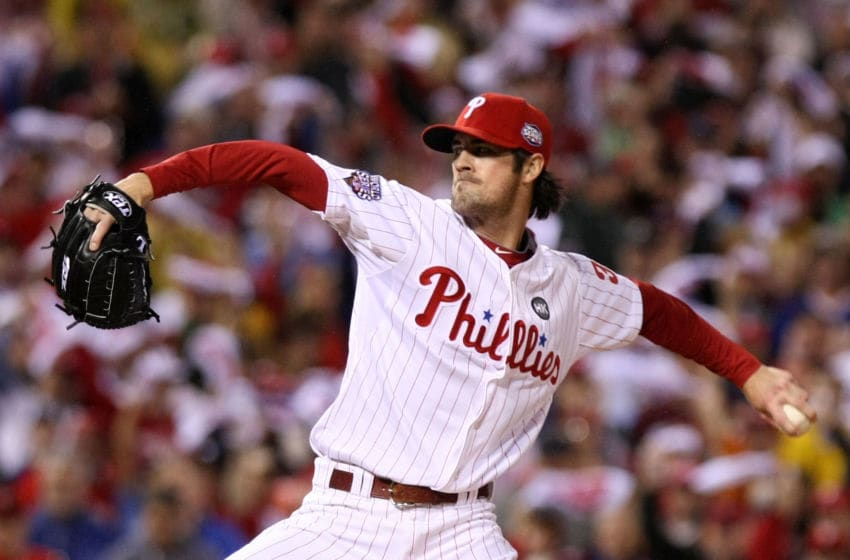 PHILADELPHIA - OCTOBER 31: Starting pitcher Cole Hamels #35 of the Philadelphia Phillies pitches against the New York Yankees in Game Three of the 2009 MLB World Series at Citizens Bank Park on October 31, 2009 in Philadelphia, Pennsylvania. (Photo by Nick Laham/Getty Images)