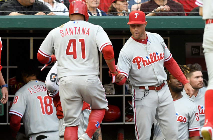 WASHINGTON, DC - MAY 05: Carlos Santana #41 of the Philadelphia Phillies celebrates with manager Gabe Kapler #22 after scoring in the sixth inning against the Washington Nationals at Nationals Park on May 5, 2018 in Washington, DC. (Photo by Greg Fiume/Getty Images)