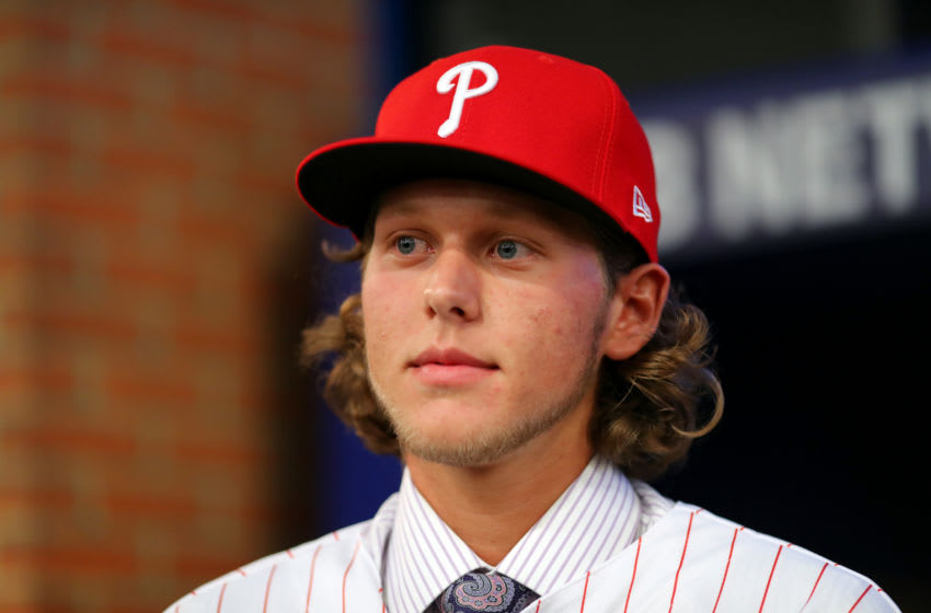 SECAUCUS, NJ - JUNE : Alec Bohm who selected third overall in the 2018 MLB Draft by the Philadelphia Phillies looks on during the 2018 Major League Baseball Draft at Studio 42 at the MLB Network on Monday, June 4, 2018 in Secaucus, New Jersey. (Photo by Alex Trautwig/MLB via Getty Images)