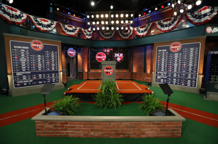 SECAUCUS, NJ - JUNE 4: A general view of the first and second round draft boards after the conclusion of the second round during the 2018 Major League Baseball Draft at Studio 42 at the MLB Network on Monday, June 4, 2018 in Secaucus, New Jersey. (Photo by Alex Trautwig/MLB Photos via Getty Images)
