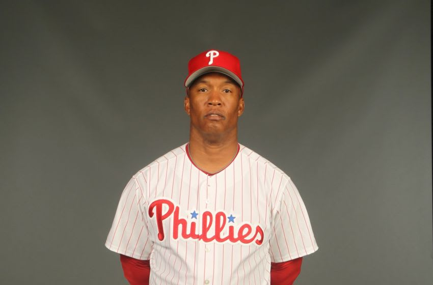 Milt Thompson #25 of the Philadelphia Phillies (Photo by Nick Laham/Getty Images)