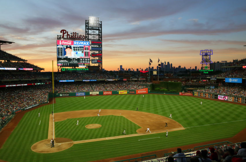 PHILADELPHIA, PA - JUNE 25: A view of the field at sunset in the fifth inning during a game between the New York Yankees and the Philadelphia Phillies at Citizens Bank Park on June 25, 2018 in Philadelphia, Pennsylvania. The Yankees won 4-2. (Photo by Hunter Martin/Getty Images)