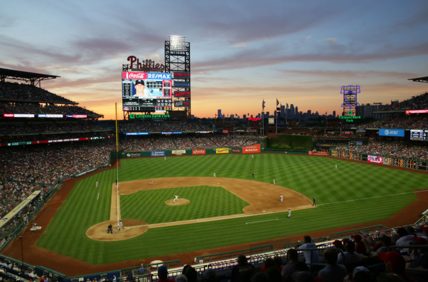 PHILADELPHIA, PA - JUNE 25: A scenic view of the playing field from the upper level at sunset during a game between the New York Yankees and the Philadelphia Phillies at Citizens Bank Park on June 25, 2018 in Philadelphia, Pennsylvania. The Yankees won 4-2. (Photo by Hunter Martin/Getty Images)