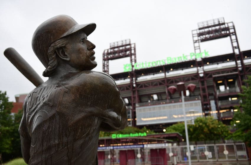 PHILADELPHIA, PA - AUGUST 29: A statue of Mike Schmidt, former Phillies Hall of Fame third baseman, is shown outside Citizens Bank Park on August 29, 2017 in Philadelphia, Pennsylvania. Rain cancelled the game against the Atlanta Braves and is rescheduled as a doubleheader tomorrow. (Photo by Corey Perrine/Getty Images)