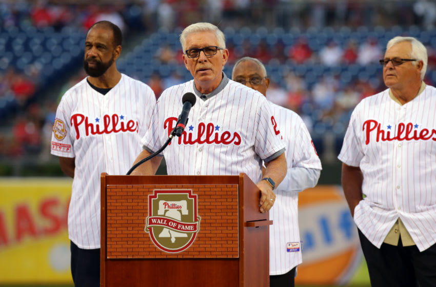PHILADELPHIA, PA - AUGUST 12: Former Phillies third baseman and Hall of Famer Mike Schmidt speaks during a ceremony with Phillies alumni before a game between the Philadelphia Phillies and the New York Mets at Citizens Bank Park on August 12, 2017 in Philadelphia, Pennsylvania. The Phillies won 3-1. (Photo by Hunter Martin/Getty Images)