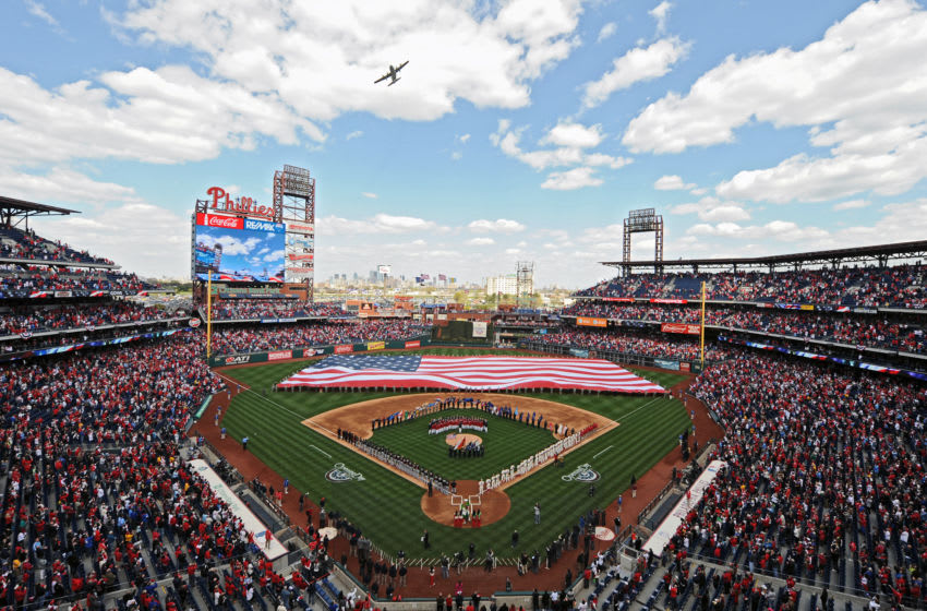 PHILADELPHIA, PA - APRIL 09: A C-130 does a flyover during the national anthem before the game between the Miami Marlins and Philadelphia Phillies during the home opener at Citizens Bank Park on April 9, 2012 in Philadelphia, Pennsylvania. (Photo by Drew Hallowell/Getty Images)