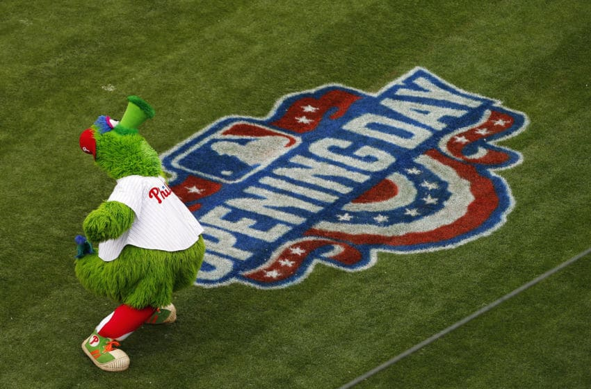 PHILADELPHIA, PA - APRIL 07: The Phillie Phanatic performs before an opening day game between the Philadelphia Phillies the Washington Nationals at Citizens Bank Park on April 7, 2017 in Philadelphia, Pennsylvania. (Photo by Rich Schultz/Getty Images)
