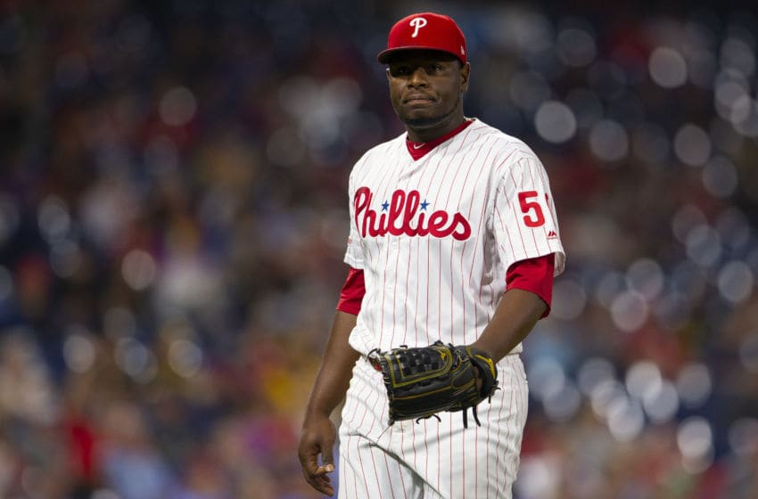 PHILADELPHIA, PA - AUGUST 27: Hector Neris #50 of the Philadelphia Phillies reacts against the Pittsburgh Pirates at Citizens Bank Park on August 27, 2019 in Philadelphia, Pennsylvania. (Photo by Mitchell Leff/Getty Images)