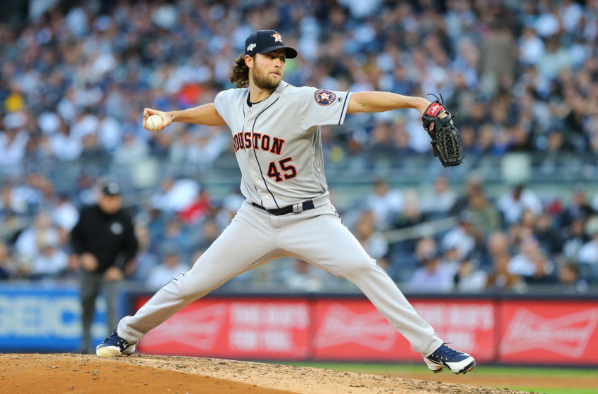 NEW YORK, NEW YORK - OCTOBER 15: Gerrit Cole #45 of the Houston Astros pitches during the third inning against the New York Yankees in game three of the American League Championship Series at Yankee Stadium on October 15, 2019 in New York City. (Photo by Mike Stobe/Getty Images)