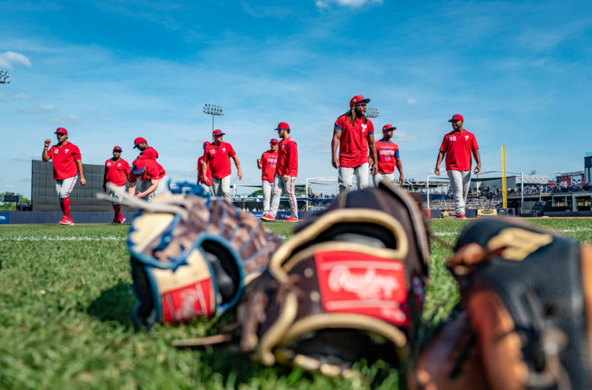 TAMPA, FL - MARCH 13: Philadelphia Phillies warming up before the spring training game against the New York Yankees at Steinbrenner Field on March 13, 2019 in Tampa, Florida. (Photo by Mark Brown/Getty Images)