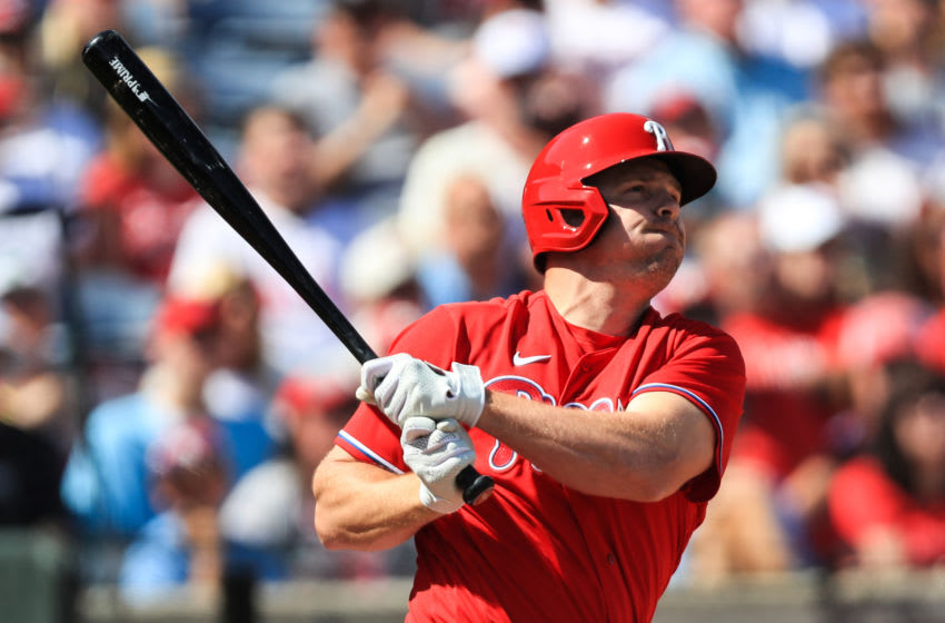 CLEARWATER, FL - FEBRUARY 23: Jay Bruce #23 of the Philadelphia Phillies doubles during the first inning of a spring training game against the Pittsburgh Pirates at Spectrum Field on February 23, 2020 in Clearwater, Florida. (Photo by Carmen Mandato/Getty Images)