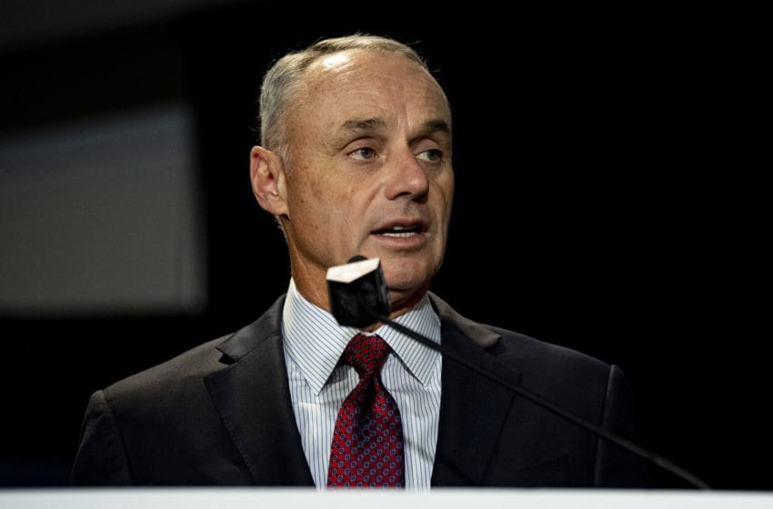 BOSTON, MA - DECEMBER 10: Major League Baseball Commissioner Rob Manfred speaks during the 2019 Major League Baseball Winter Meetings on December 10, 2019 in San Diego, California. (Photo by Billie Weiss/Boston Red Sox/Getty Images)