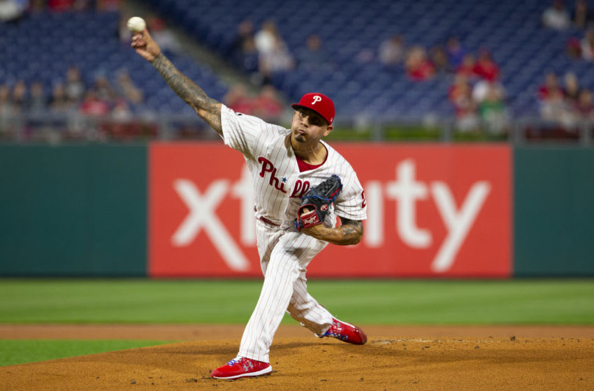 Vince Velasquez #21 of the Philadelphia Phillies (Photo by Mitchell Leff/Getty Images)