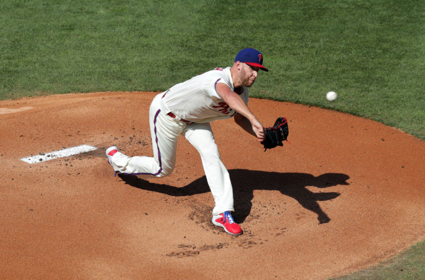 PHILADELPHIA, PA - JULY 25: Starting pitcher Zack Wheeler #45 of the Philadelphia Phillies delivers a pitch in the first inning during a game against the Miami Marlins at Citizens Bank Park on July 25, 2020 in Philadelphia, Pennsylvania. The 2020 season had been postponed since March due to the COVID-19 pandemic. (Photo by Hunter Martin/Getty Images)