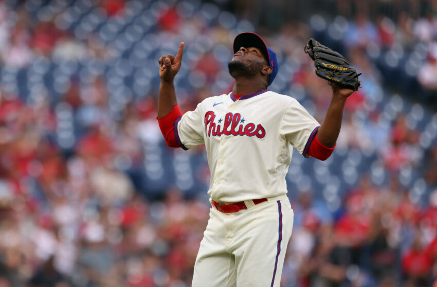 PHILADELPHIA, PA - AUGUST 29: Hector Neris #50 of the Philadelphia Phillies in action against the Arizona Diamondbacks during a game at Citizens Bank Park on August 29, 2021 in Philadelphia, Pennsylvania. (Photo by Rich Schultz/Getty Images)