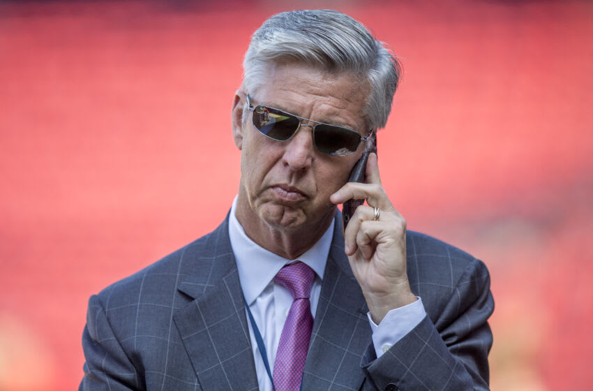 BOSTON, MA - JULY 5: Boston Red Sox President of Baseball Operations Dave Dombrowski talks on the phone before a game between the Boston Red Sox and the Texas Rangers on July 5, 2016 at Fenway Park in Boston, Massachusetts. (Photo by Billie Weiss/Boston Red Sox/Getty Images)
