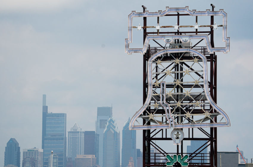 General view of the Philadelphia skyline behind the Liberty Bell sign at Citizens Bank Park. (Bill Streicher-USA TODAY Sports)
