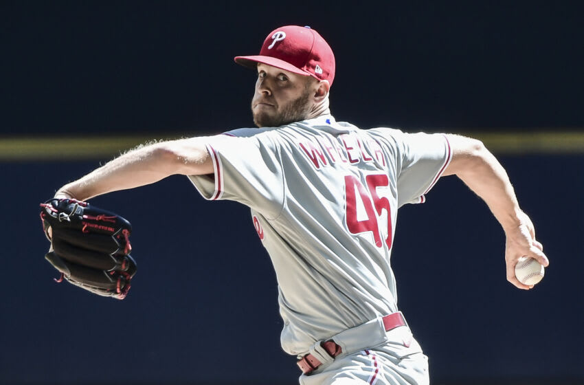 Sep 6, 2021; Milwaukee, Wisconsin, USA; Philadelphia Phillies pitcher Zack Wheeler (45) throws a pitch in the first inning against the Milwaukee Brewers at American Family Field. Mandatory Credit: Benny Sieu-USA TODAY Sports