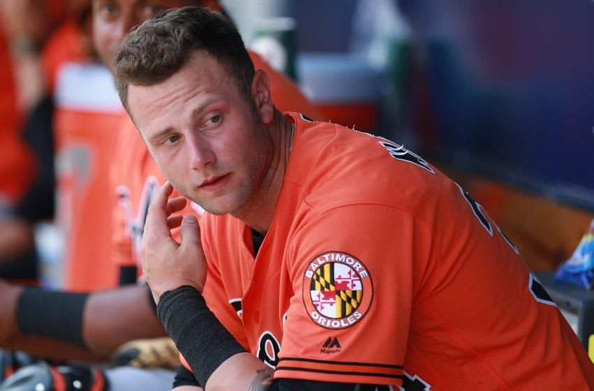 Mar 11, 2016; Tampa, FL, USA; Baltimore Orioles first baseman Christian Walker (34) in the dugout against the New York Yankees at George M. Steinbrenner Field. Mandatory Credit: Kim Klement-USA TODAY Sports