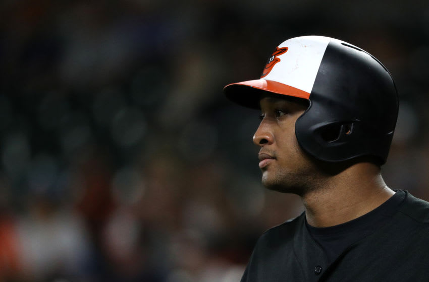BALTIMORE, MD - JULY 27: Jonathan Schoop #6 of the Baltimore Orioles looks on before batting during the first inning against the Tampa Bay Rays at Oriole Park at Camden Yards on July 27, 2018 in Baltimore, Maryland. (Photo by Patrick Smith/Getty Images)