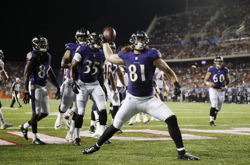 CANTON, OH - AUGUST 02: Hayden Hurst #81 of the Baltimore Ravens reacts after a touchdown reception against the Chicago Bears in the third quarter of the Hall of Fame Game at Tom Benson Hall of Fame Stadium on August 2, 2018 in Canton, Ohio. (Photo by Joe Robbins/Getty Images)
