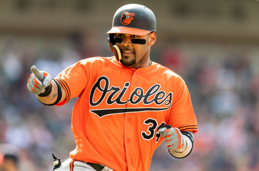 CLEVELAND, OH - AUGUST 18: Jonathan Villar #34 of the Baltimore Orioles celebrates as he rounds the bases after hitting a three run home run during the third inning against the Cleveland Indians at Progressive Field on August 18, 2018 in Cleveland, Ohio. (Photo by Jason Miller/Getty Images)