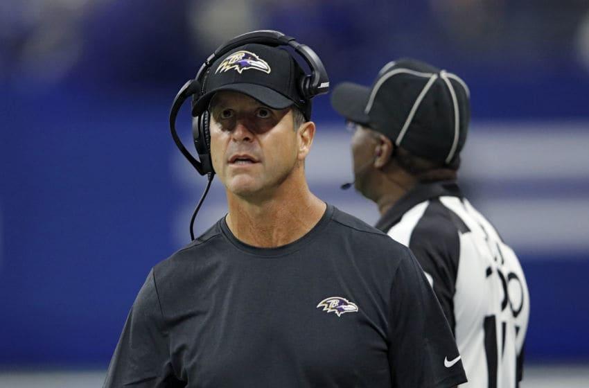 INDIANAPOLIS, IN - AUGUST 20: Head coach John Harbaugh of the Baltimore Ravens looks on against the Indianapolis Colts in the second quarter of a preseason game at Lucas Oil Stadium on August 20, 2018 in Indianapolis, Indiana. (Photo by Joe Robbins/Getty Images)