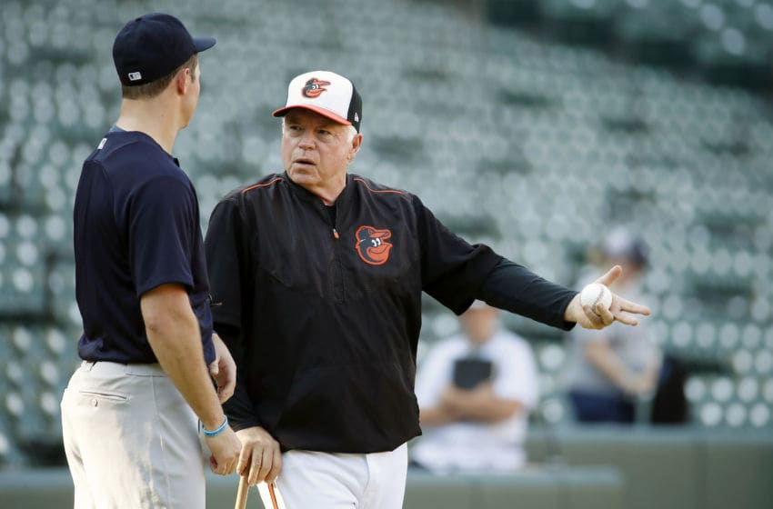 BALTIMORE, MD - AUGUST 24: Zach Britton #53 of the New York Yankees talks to manager Buck Showalter #26 of the Baltimore Orioles before a game at Oriole Park at Camden Yards on August 24, 2018 in Baltimore, Maryland. (Photo by Patrick McDermott/Getty Images)