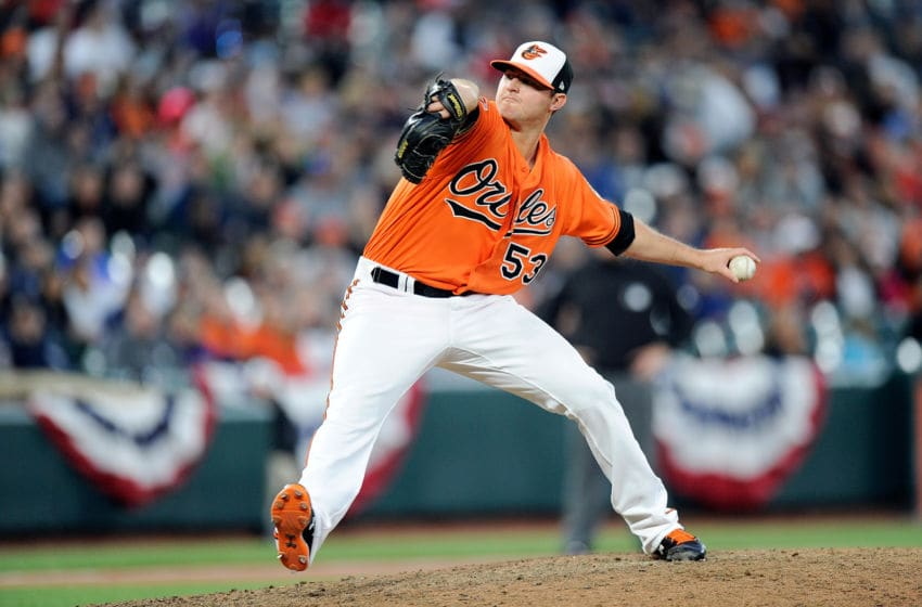 BALTIMORE, MD - APRIL 08: Zach Britton #53 of the Baltimore Orioles pitches in the ninth inning against the New York Yankees at Oriole Park at Camden Yards on April 8, 2017 in Baltimore, Maryland. Baltimore won the game 5-4. (Photo by Greg Fiume/Getty Images)