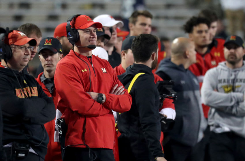 COLLEGE PARK, MD - NOVEMBER 25: Head coach DJ Durkin of the Maryland Terrapins watches from the sidelines during the closing moments of the Terrapins 66-3 loss to the Penn State Nittany Lions at Capital One Field on November 25, 2017 in College Park, Maryland. (Photo by Rob Carr/Getty Images)