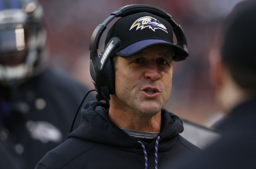 CLEVELAND, OH - DECEMBER 17: Head coach John Harbaugh of the Baltimore Ravens stands on the sideline during the game against the Cleveland Browns at FirstEnergy Stadium on December 17, 2017 in Cleveland, Ohio. (Photo by Kirk Irwin/Getty Images)