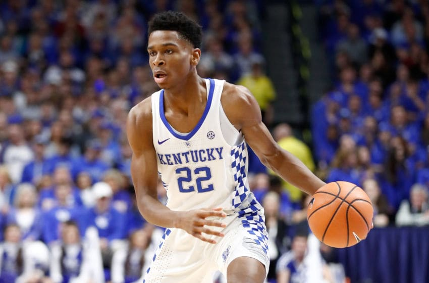 LEXINGTON, KY - FEBRUARY 17: Shai Gilgeous-Alexander #22 of the Kentucky Wildcats dribbles the ball against the Alabama Crimson Tide at Rupp Arena on February 17, 2018 in Lexington, Kentucky. (Photo by Andy Lyons/Getty Images)