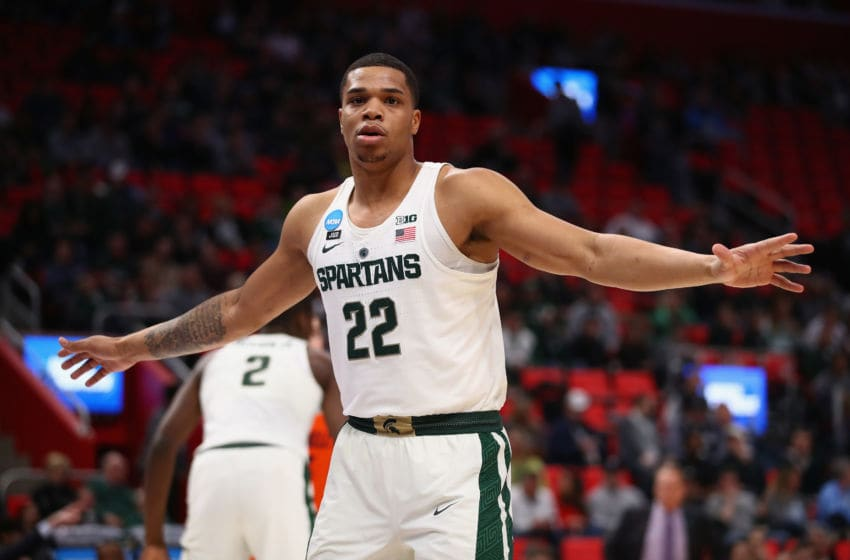 DETROIT, MI - MARCH 16: Miles Bridges #22 of the Michigan State Spartans plays defense during the first half against the Bucknell Bison in the first round of the 2018 NCAA Men's Basketball Tournament at Little Caesars Arena on March 16, 2018 in Detroit, Michigan. (Photo by Gregory Shamus/Getty Images)