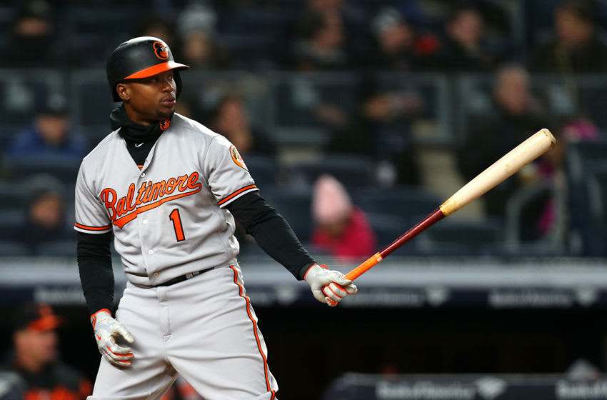 NEW YORK, NY - APRIL 05: Tim Beckham #1 of the Baltimore Orioles in action during a game against the New York Yankees at Yankee Stadium on April 5, 2018 in the Bronx borough of New York City. (Photo by Rich Schultz/Getty Images)