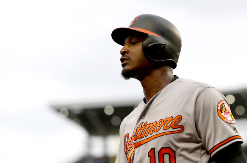 WASHINGTON, DC - JUNE 21: Adam Jones #10 of the Baltimore Orioles walks back to the dugout after striking out in the first inning against the Washington Nationals at Nationals Park on June 21, 2018 in Washington, DC. (Photo by Rob Carr/Getty Images)