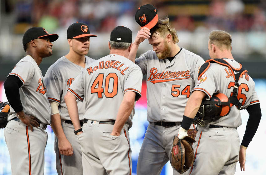 MINNEAPOLIS, MN - JULY 5: Pitching coach Roger McDowell #40 of the Baltimore Orioles visits pitcher Andrew Cashner #54 and infielders on the mound during the sixth inning of the game on July 5, 2018 at Target Field in Minneapolis, Minnesota. (Photo by Hannah Foslien/Getty Images)